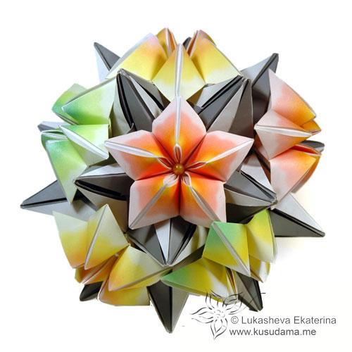 Kusudama me modular origami clematis unit carambola on radianta mightylinksfo