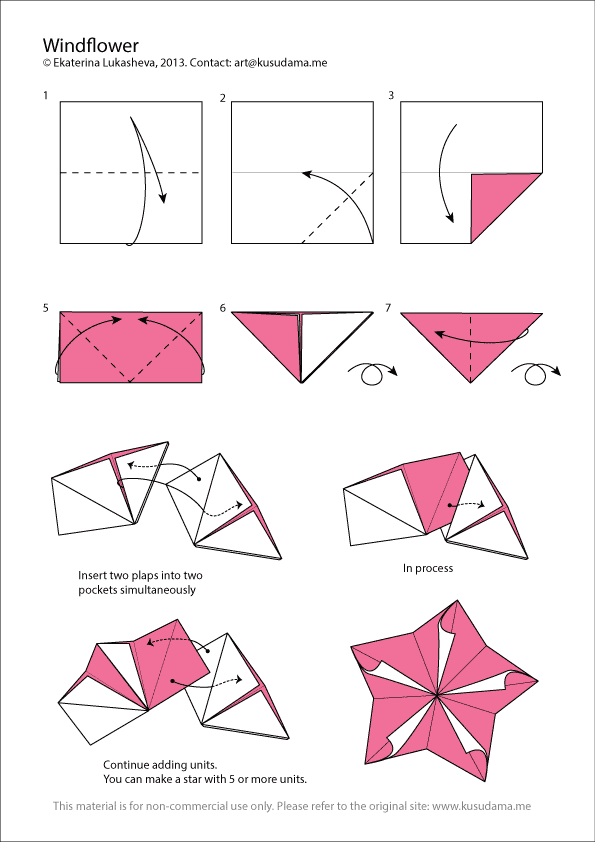 Diagram for Windflower kusudama