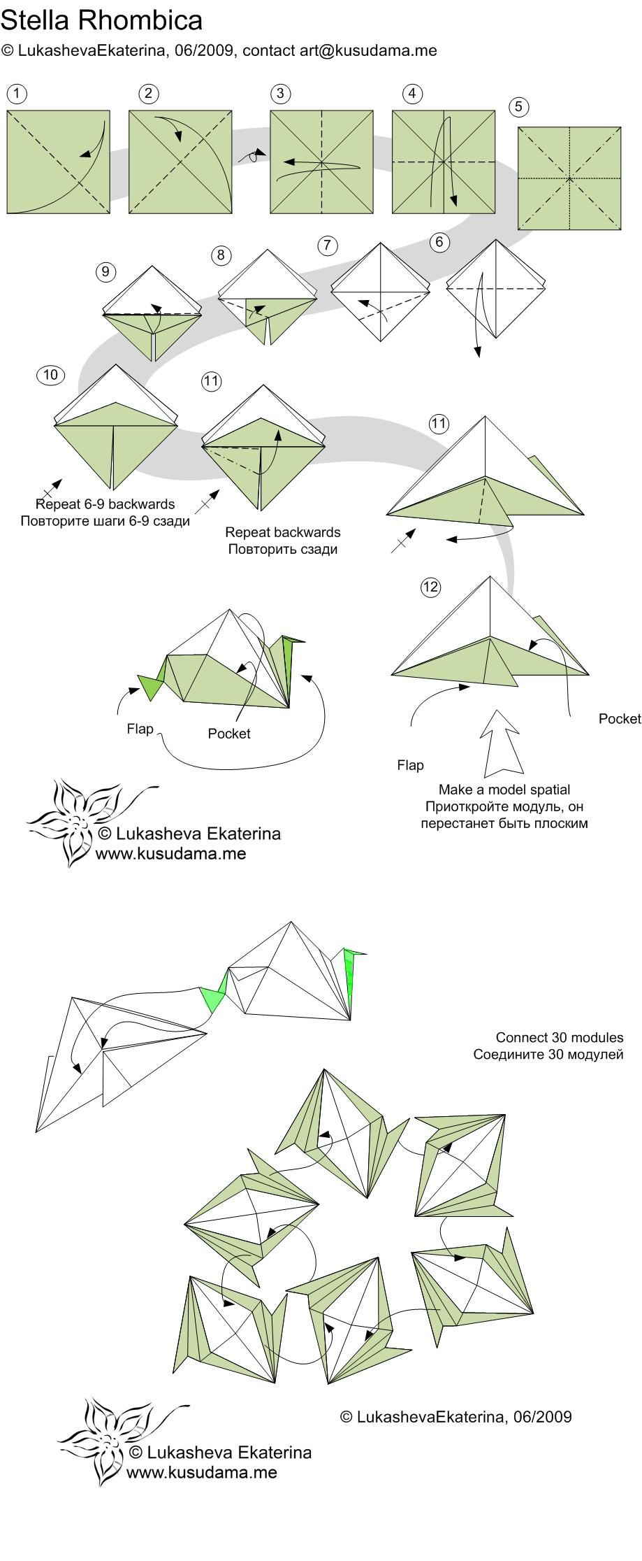 Kusudama me modular origami stellarhombica unit diagram for stellarhombica kusudama pooptronica
